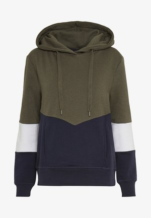 ONLPEAR BLOCKING HOOD - Hoodie - kalamata/white/night sky