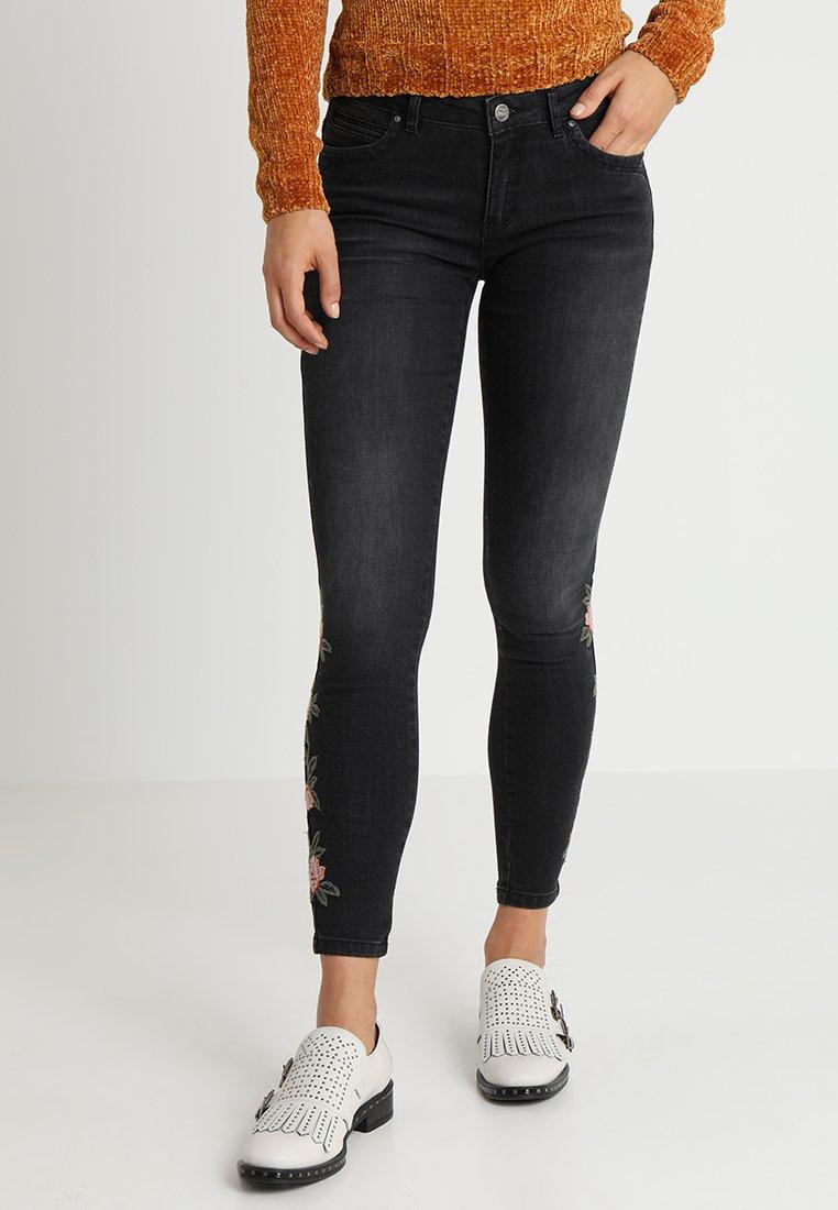 ONLY - ONLKENDELL ANK FLOWER - Jeans Skinny - black