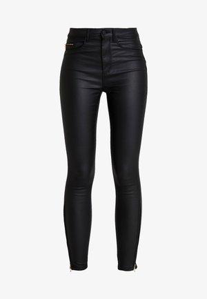 ONLROYAL COATED ANKLE ZIP PANT - Skinny džíny - black