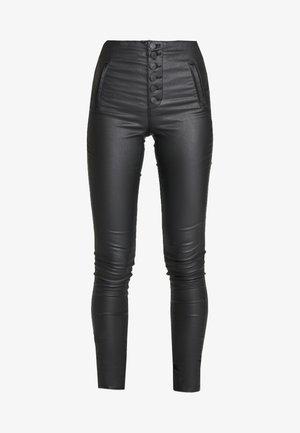 ONLROYAL COATED BUTTON PANT - Pantaloni - black