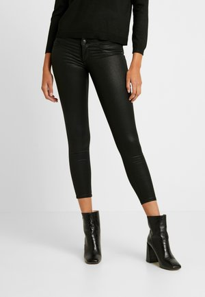 ONLCORAL SUPERLOW LUX COATED PANT - Trousers - black