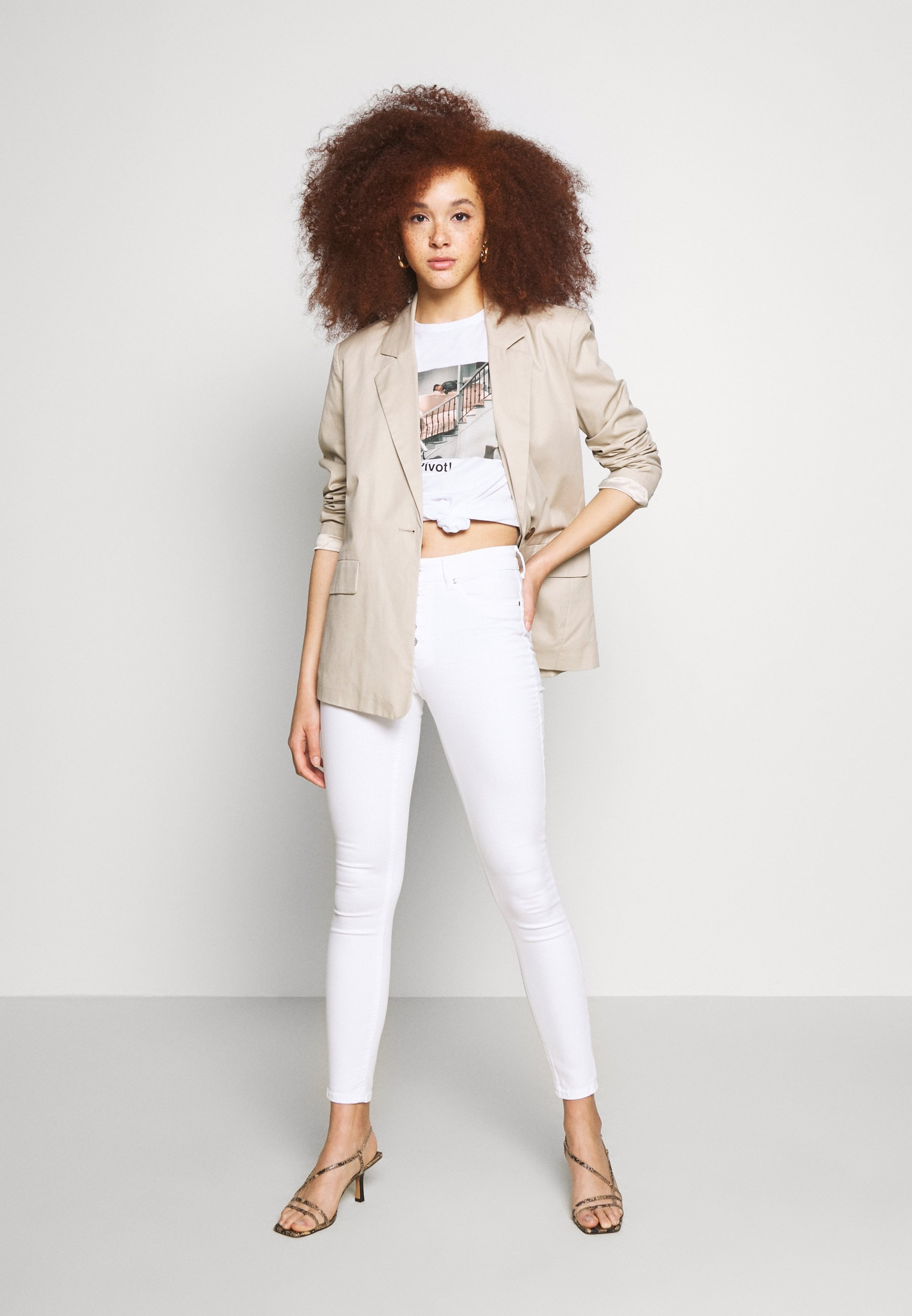 Only Onlblush Button - Jeans Skinny Fit White
