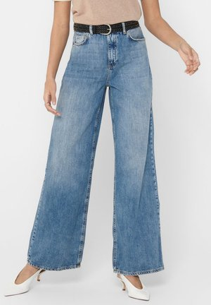 ONLY STRAIGHT FIT JEANS ONLMAI HW WIDE - Flared Jeans - medium blue denim