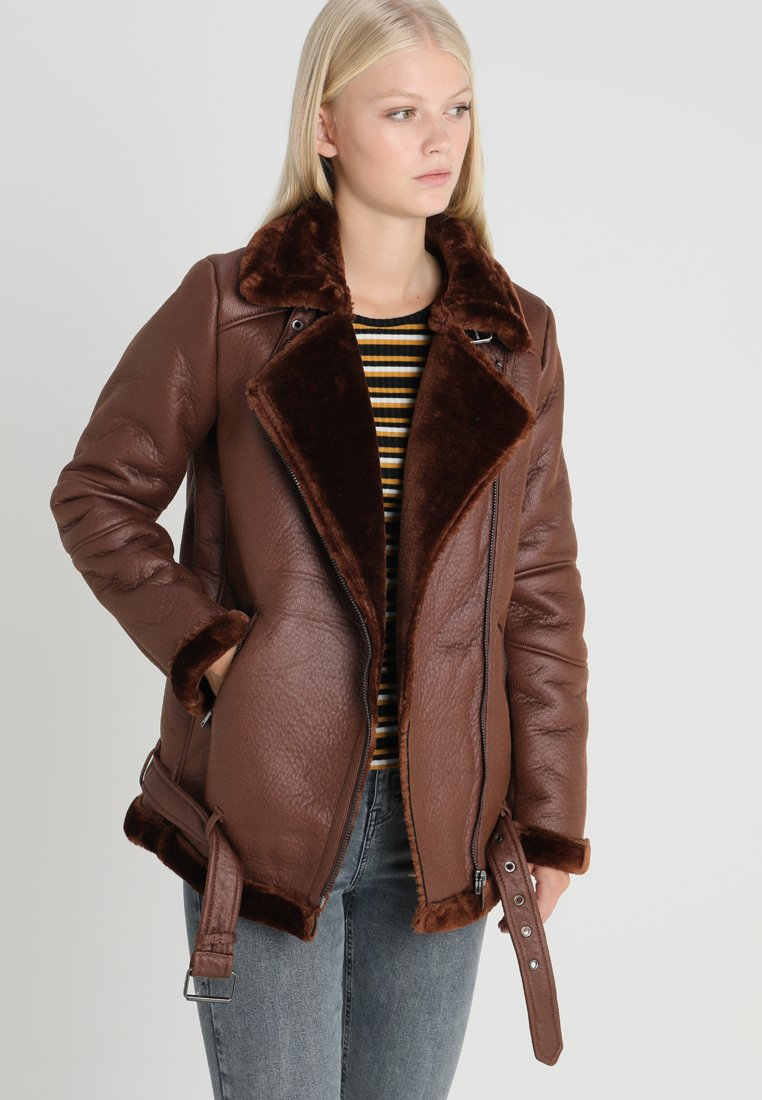 ONLY - ONLNEW DIA - Faux leather jacket - cherry mahogany