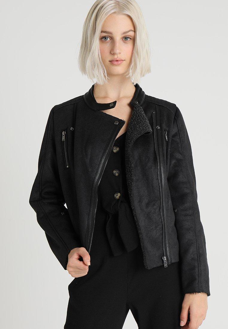 ONLY - ONLEMMABONDED MIX BIKER - Faux leather jacket - black