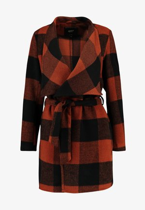 ONLFREYA DRAPY CHECK COAT - Manteau court - ginger bread/black