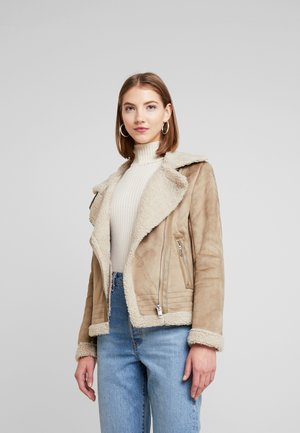 ONLMADDIE AVIATOR  - Faux leather jacket - taupe gray