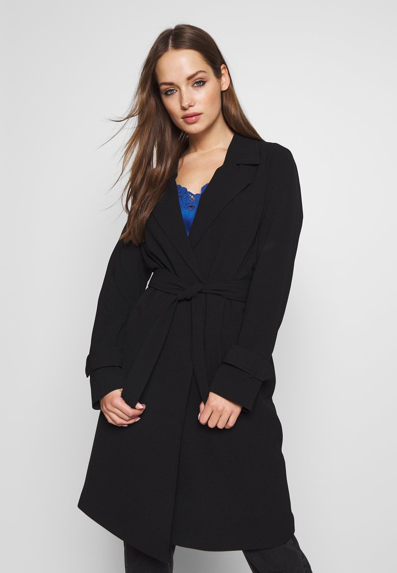 ONLY - ONLUNNA DRAPY COAT - Trenchcoat - black