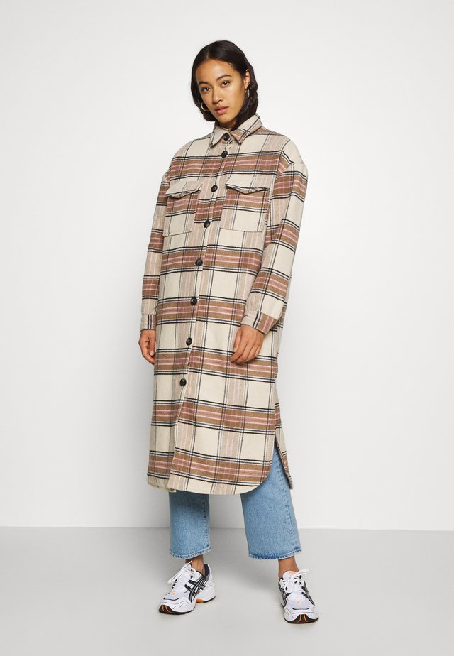 ONLLOLLY LONG CHECK COAT - Abrigo - whitecap gray