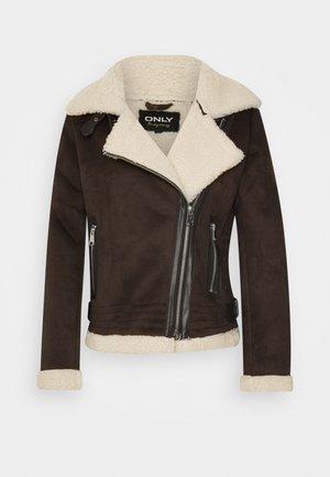 ONLDIANA BONDED AVIATOR JACKET - Faux leather jacket - black coffee/white