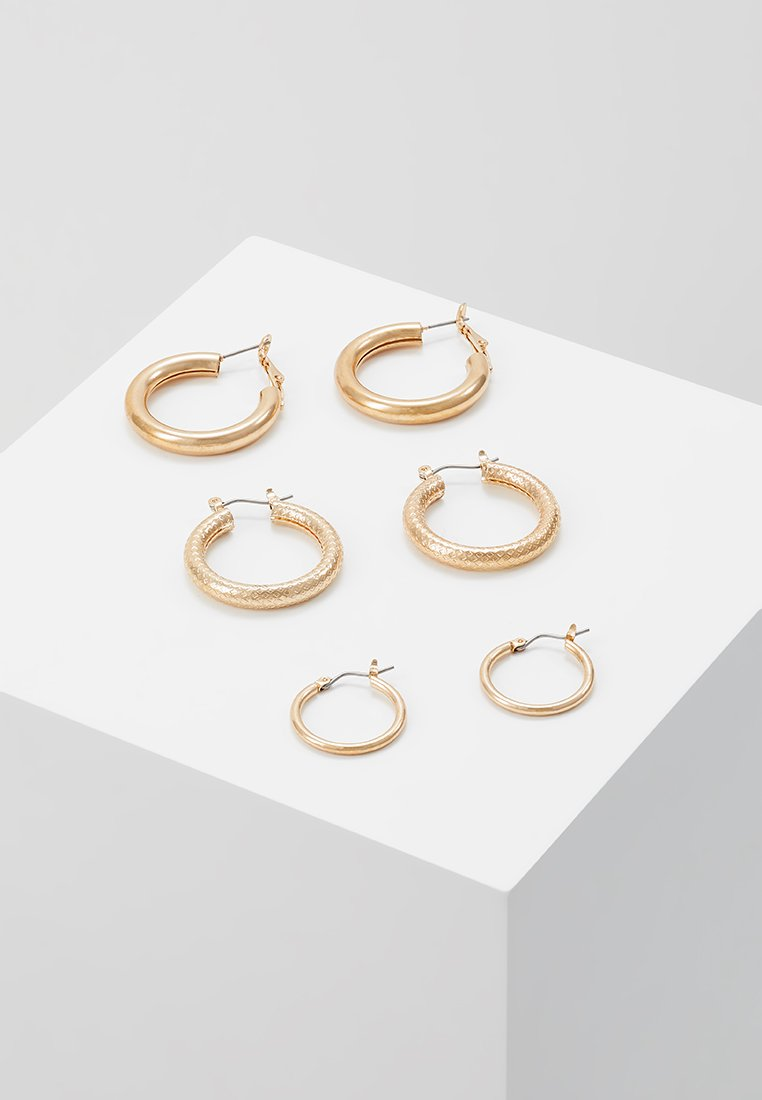 ONLY - ONLTILLA 3 PACK CREOL EARRINGS  - Ohrringe - gold-coloured