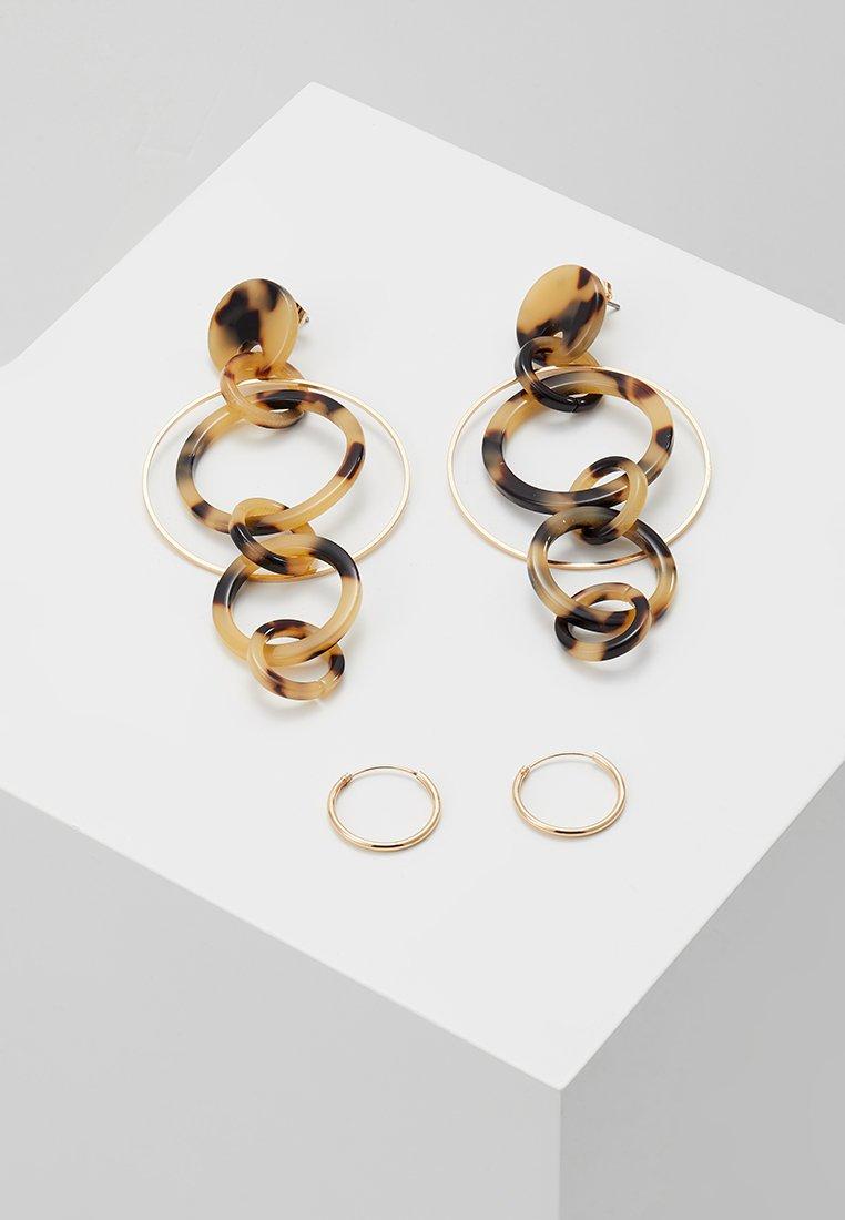 ONLY - ONLKATIEA EARRING 2 PACK - Øreringe - peyote/turtle peyote/golden brown