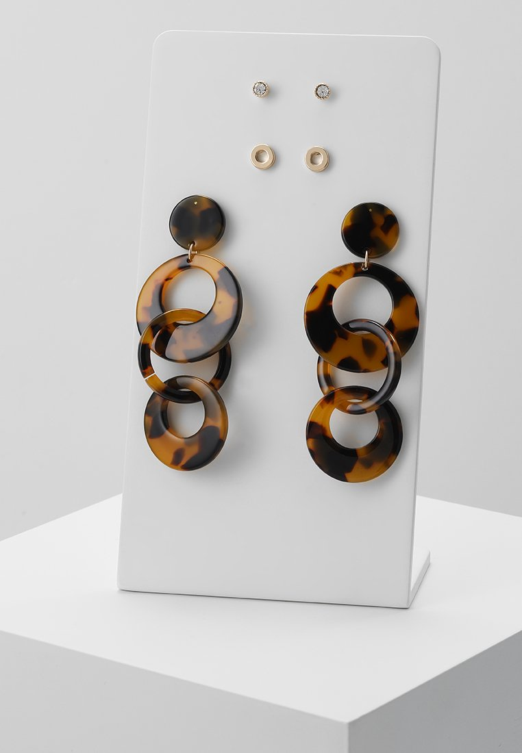 ONLY - ONLMERTIE EARRING 3 PACK - Pendientes - gold-coloured/brown