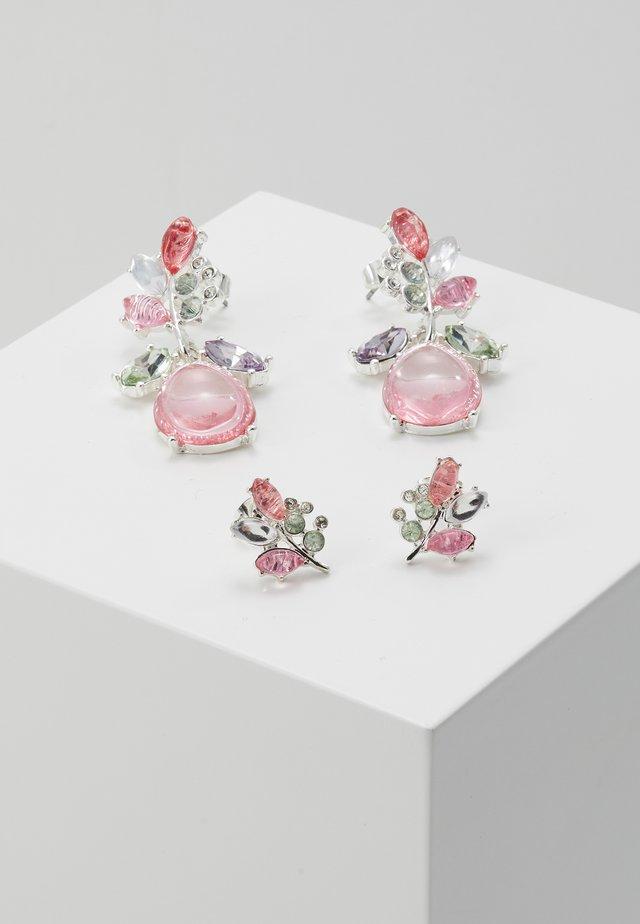ONLBASTA EARRING 2 PACK - Earrings - silver coloured/rose/pool blue