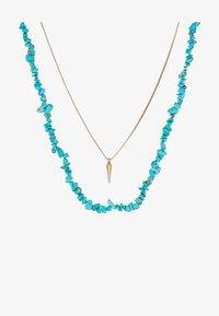 azure blue/gold-coloured