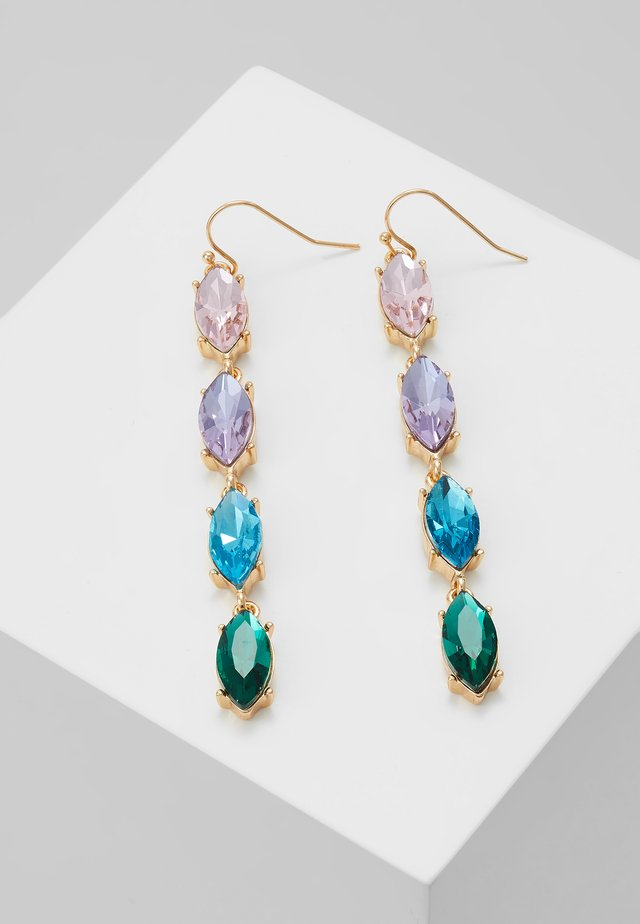 ONLCALA LONG EARRING - Kolczyki - gold-coloured/blush/clear/aqua