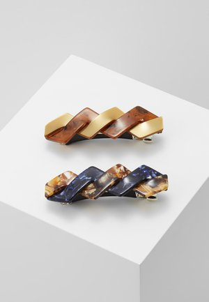 ONLBABARA 2 PACK HAIR CLIP - Hair styling accessory - cognac/blue