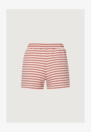 Swimming shorts - white aop w/ red