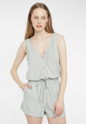 Jumpsuit - green with white