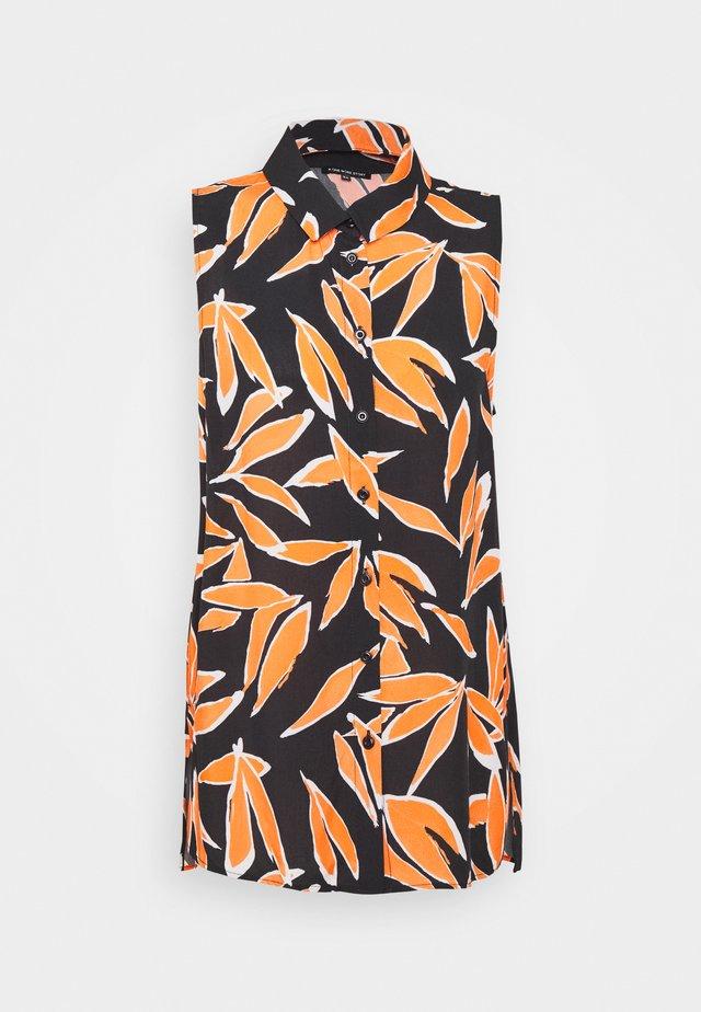 Button-down blouse - orange/dark blue