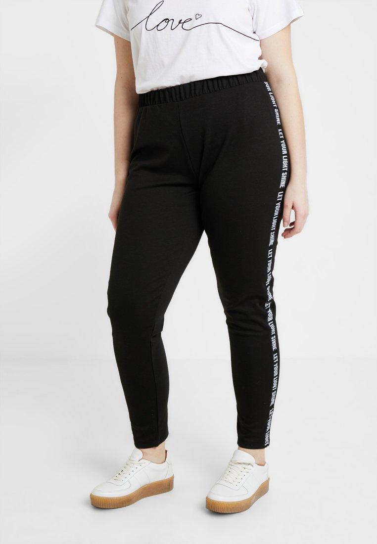 ONLY Carmakoma - CARLETTER TAPE PANT - Trainingsbroek - black
