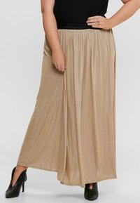 ONLY Carmakoma - FALTEN - Pleated skirt - frosted almond - 0