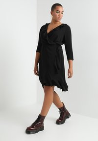 ONLY Carmakoma - CARNUT 3/4 WRAP DRESS SOLID - Day dress - black - 0
