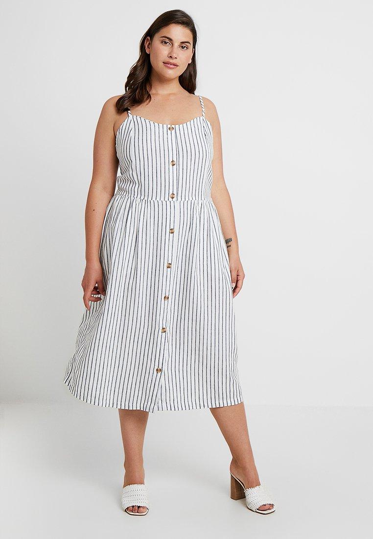 ONLY Carmakoma - CARUNA STRAP STRIPE DRESS - Skjortklänning - white/blue