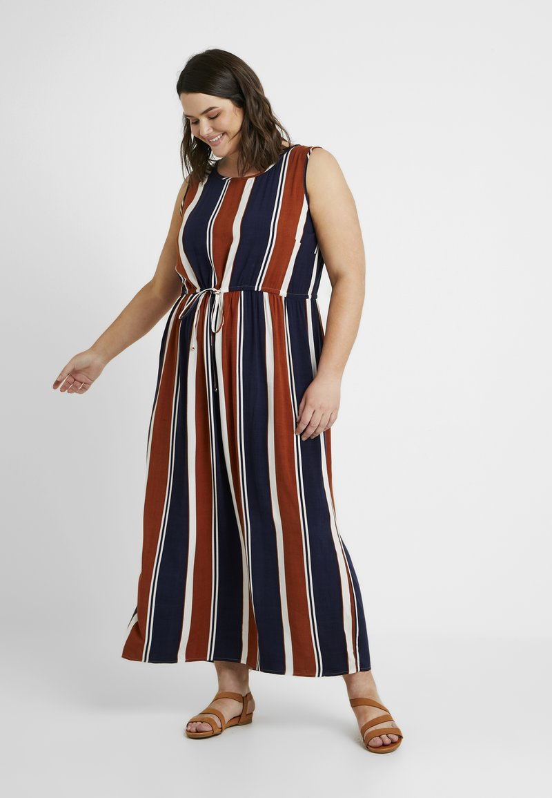 ONLY Carmakoma - CARBAX DRESS - Maxi dress - ginger bread/blue/white