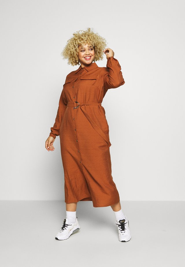 CARWANDA CALF SHIRT DRESS - Blousejurk - brown patina
