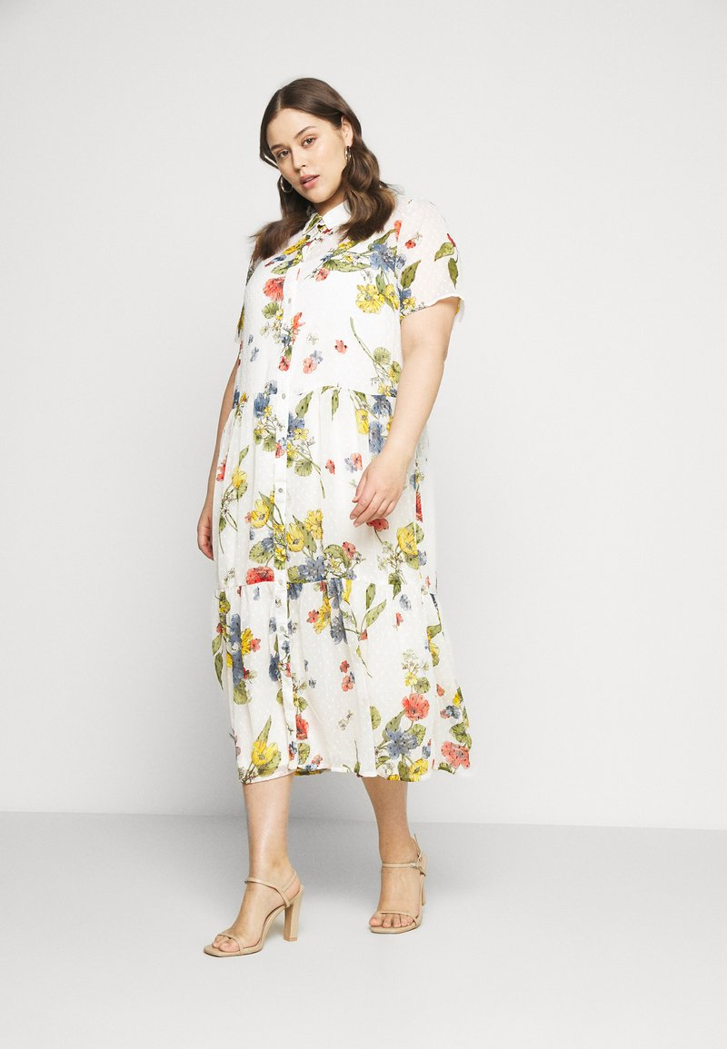 ONLY Carmakoma - CARSPIRIT CALF DRESS - Shirt dress - cloud dancer