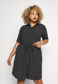ONLY Carmakoma - CARLILA DRESS - Shirt dress - black/white - 0