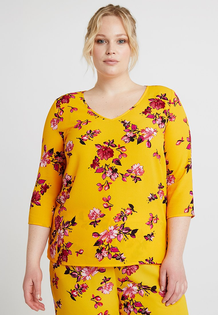 ONLY Carmakoma - CARLUX VNECK 3/4 - Bluser - yellow