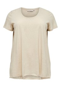 ONLY Carmakoma - CURVY GLITZER - T-shirts print - oatmeal - 0