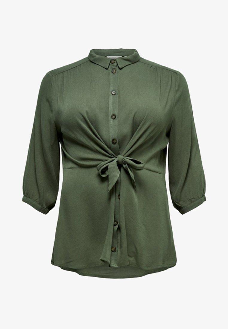 ONLY Carmakoma - MET 3/4 MOUWEN CURVY EFFEN GEKLEURD - Button-down blouse - dark green