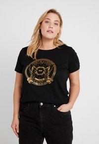 ONLY Carmakoma - CARGLAM TEE - T-shirt print - black/gold - 0