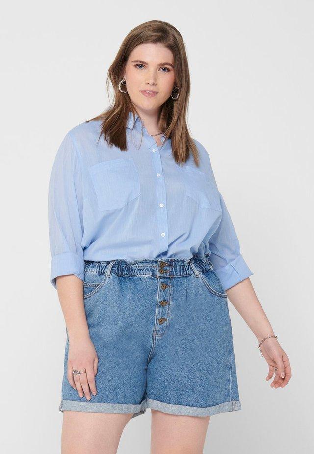 CURVY - Button-down blouse - medium blue denim