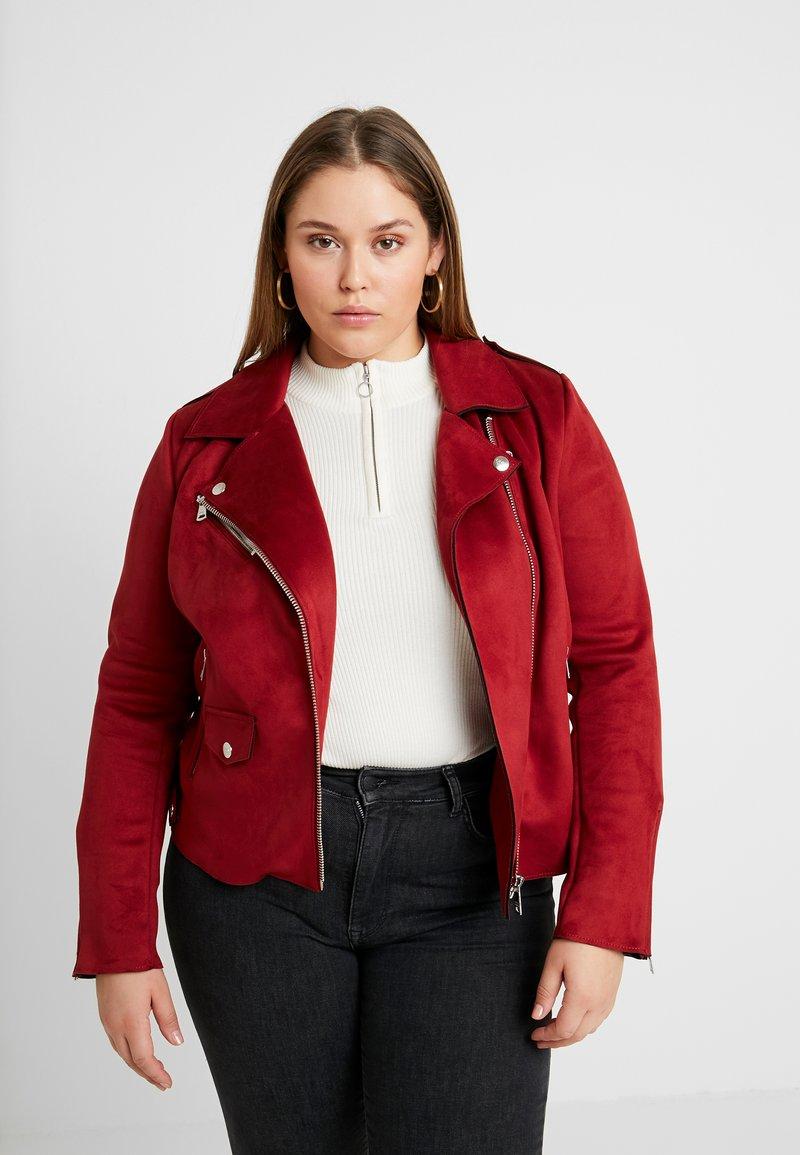 ONLY Carmakoma - CARSHERRY BONDED BIKER - Faux leather jacket - merlot
