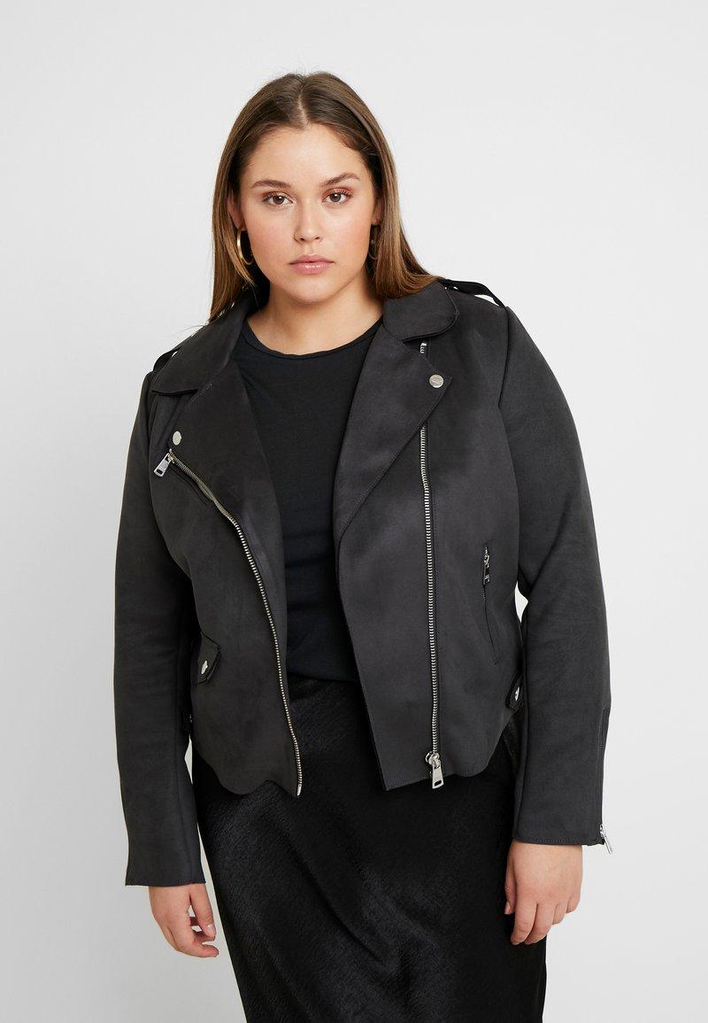 ONLY Carmakoma - CARSHERRY BONDED BIKER - Faux leather jacket - phantom
