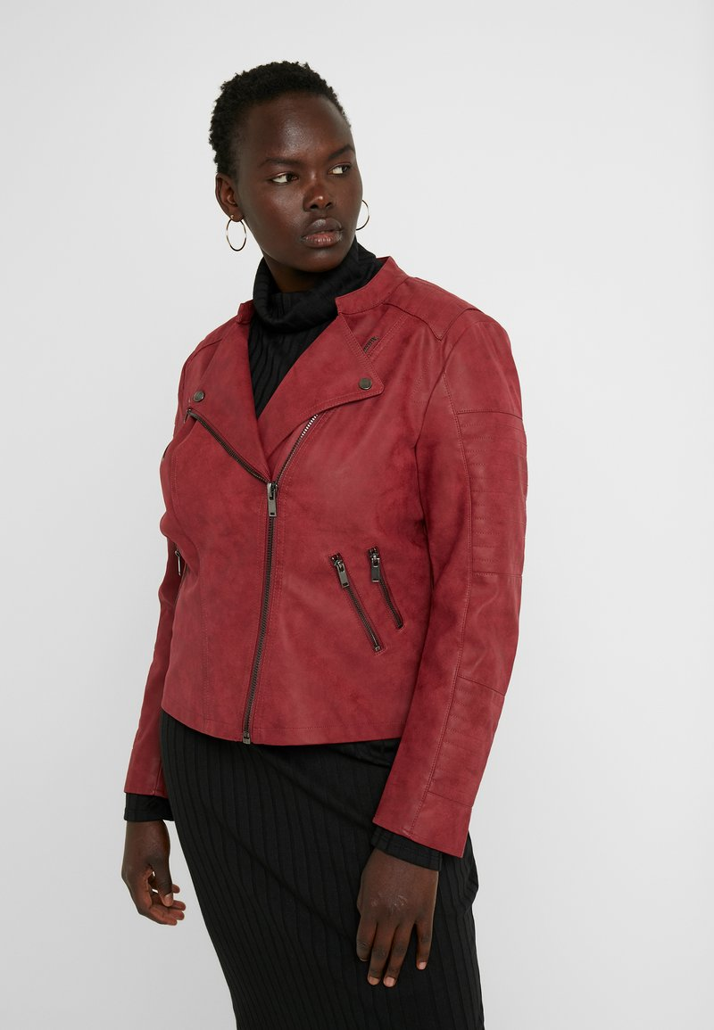 ONLY Carmakoma - CARAVANA BIKER - Faux leather jacket - red pear