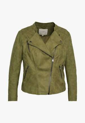 CARAVANA BIKER - Faux leather jacket - martini olive
