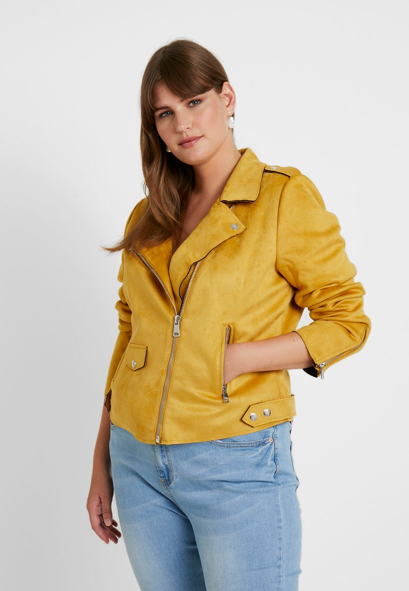ONLY Carmakoma - Faux leather jacket - golden yellow