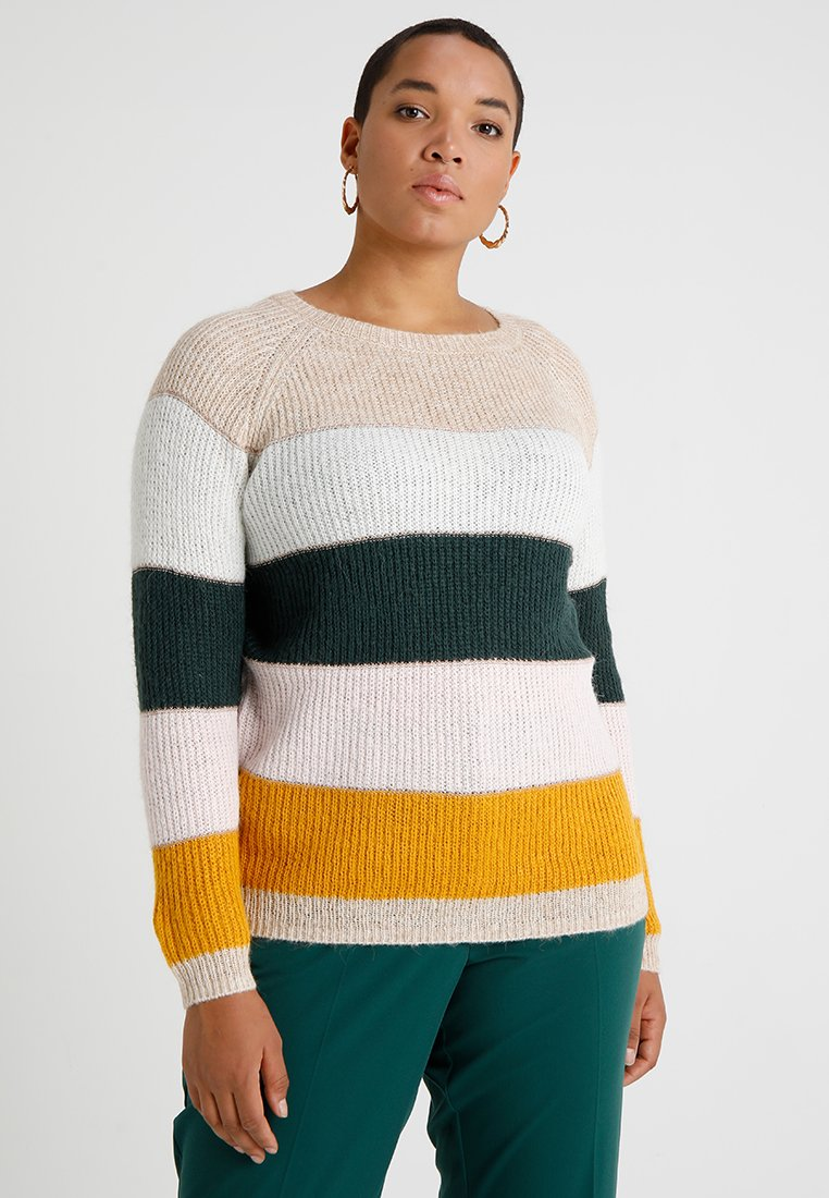 ONLY Carmakoma - CARBORAX STRIPE - Strickpullover - pumice stone