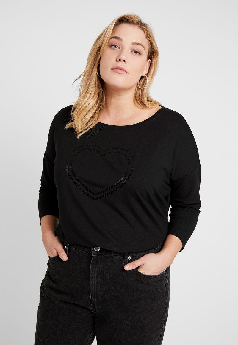 ONLY Carmakoma - CARJAN 3/4 O-NECK BOX - Bluzka z długim rękawem - black