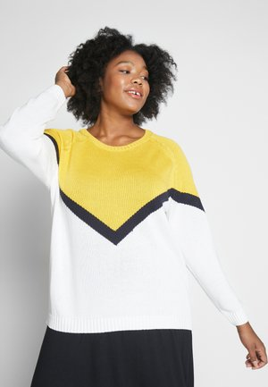 CARSARA BLOCK - Jumper - yellow/white
