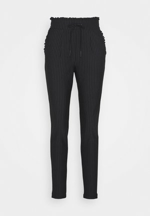 ONLPOPTRASH PINSTRIPE FRILL PANT TALL - Kalhoty - black