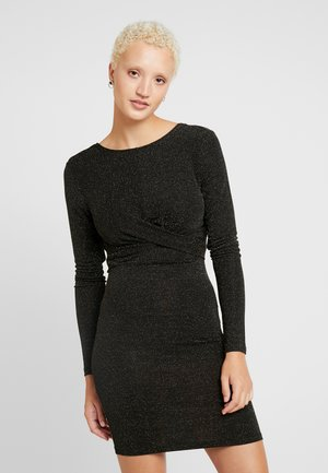 ONLQUEEN GLITTER TWIST DRESS - Vestido de tubo - black/gold