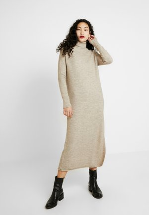 ONLCLEAN ROLLNECK DRESS - Strikket kjole - simply taupe/melange