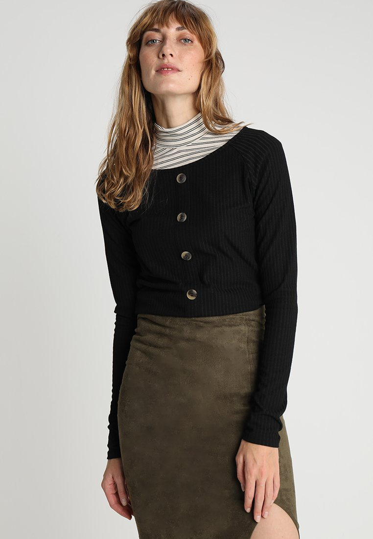 ONLY Tall - ONLMONA BOATNECK BUTTON - Top s dlouhým rukávem - black