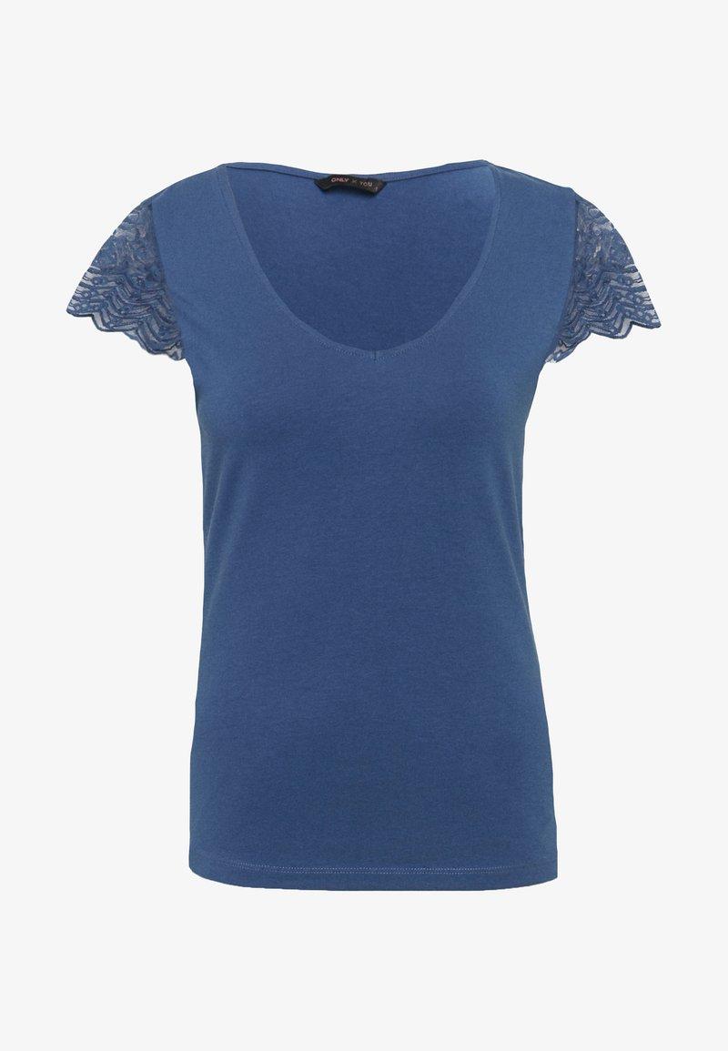 ONLY Tall - ONYFAITH V-NECK - T-shirts med print - vintage indigo